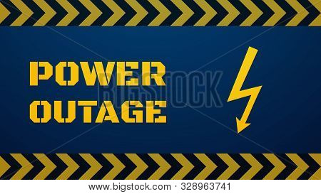 Power outage template. Blackout concept illustration. Big stencil yellow text and lightning sign on dark blue background. Black yellow arrow bars on top and bottom stock photo