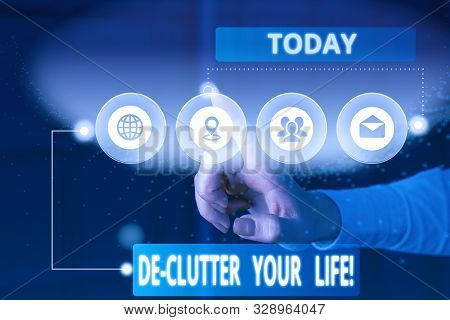 Text sign showing De Clutter Your Life. Conceptual photo remove unnecessary items from untidy or overcrowded places Picture photo system network scheme modern technology smart device. stock photo