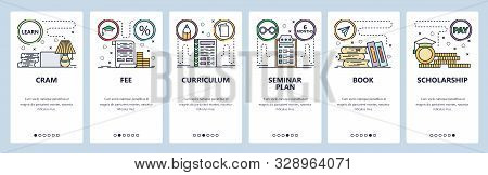Mobile app onboarding screens. Education icons, tuition fee, scholarship, cram exam, books. Menu vector banner template for website and mobile development. Web site design flat illustration stock photo