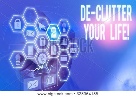 Handwriting text writing De Clutter Your Life. Concept meaning remove unnecessary items from untidy or overcrowded places Picture photo system network scheme modern technology smart device. stock photo