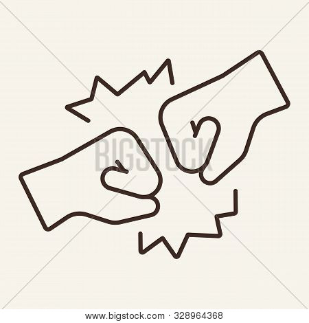 Bump line icon. Fist, bumping, hand. Gesturing concept. Vector illustration can be used for topics like communication, hand signals, miming stock photo
