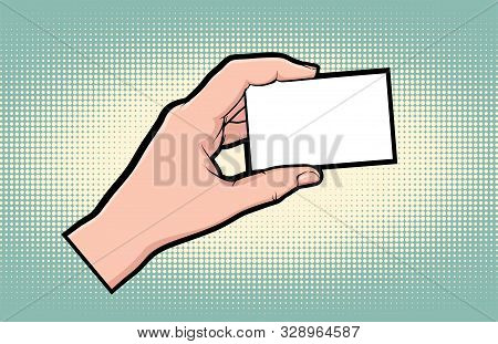 Hand gesture comic book pop art isolated. Hand hold and show business card. Sketch cartoon retro show card arm. Commercial empty business card gesture vector illustration. stock photo