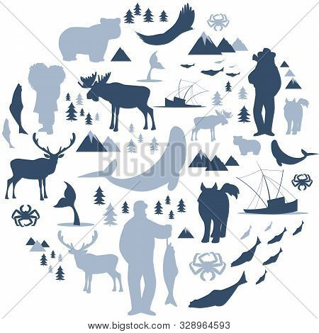 North Polar circle icons and images. Animals, eskimos, forests, mountains, hunters, boats, fish and fishermen stock photo