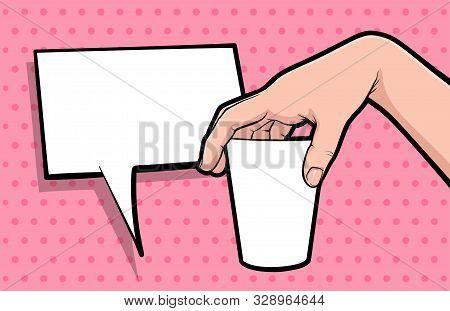 Hand gesture hold coffee mug comic book pop art isolated. Drink advertising gesture. Sketch cartoon retro coffee break cup arm. Coffee mock up hand gesture vector illustration. stock photo