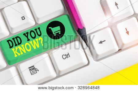 Word writing text Did You Know Question. Business concept for when you are asking someone if they know fact or event White pc keyboard with empty note paper above white background key copy space. stock photo