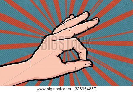Hand gesture Ok comic book pop art isolated. Like positive gesture. Sketch cartoon retro good symbol arm. Ok like hand gesture vector illustration. stock photo