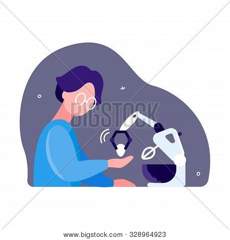 Development of new electrical appliances. Inventor activity concept. A man is testing kitchen mixer with a robot arm stock photo