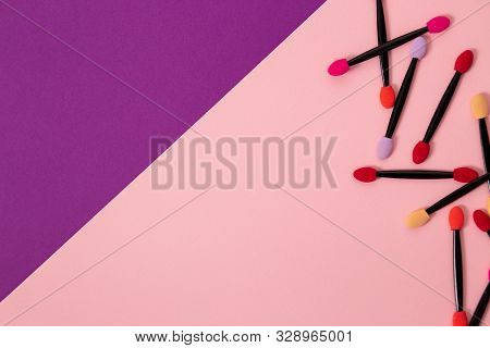 Artificial eyelashes on a magnet on a white background in round package, copy space. Cosmetics, beauty, fashion, youth, care concept stock photo