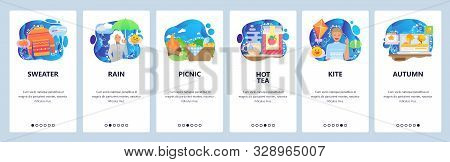 Mobile app onboarding screens. Weather forecast, autumn rain, woman with umbrella, hot tea and outdoor picnic. Vector banner template for website and mobile development. Web site design illustration stock photo