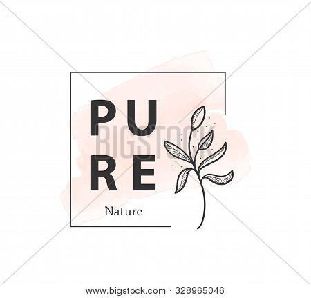 Botanical logo outline drawing. Minimal floral vintage style. Doodle plant vector illustration. Pure nature organic brush. Line drawing. Botanical floral badge collection. Eco product emblem set. stock photo