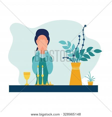 Jewish religion woman in headdress cover eyes to recite blessing upon lighting the sabbath candles. Vector illustration in flat style. Isolated on white background stock photo