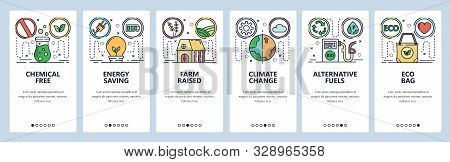 Mobile app onboarding screens. Green energy, global warming and climate change, eco bag. Menu vector banner template for website and mobile development. Web site design flat illustration stock photo