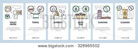 Mobile app onboarding screens. Toilet and bathroom accessories, paper, shower, bath tub, shaving. Menu vector banner template for website and mobile development. Web site design flat illustration stock photo
