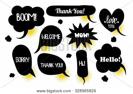 Comic text speech bubble pop art style halftone background. Set black cloud talk speech bubble. Isolated black speech bubble talk silhouette for text. Text comics design with text wow, boom, hi stock photo
