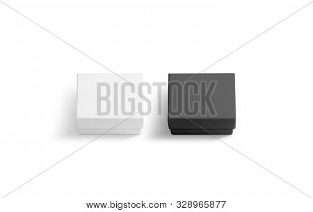 Blank black and white gift box with lid mock up stock photo