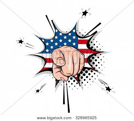 Vintage poster with Uncle sam show hand ask vote 2020 on halftone background. Human arm gesture cartoon vector illustration. Uncle Sam motivated to vote in USA 2020. USA flag star and stripes. stock photo