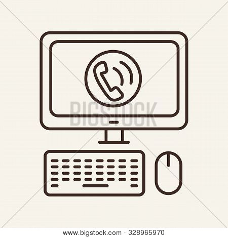 Computer call line icon. Computer, screen, handset. Communication service concept. Vector illustration can be used for topics like communication, telephony, voice connection stock photo