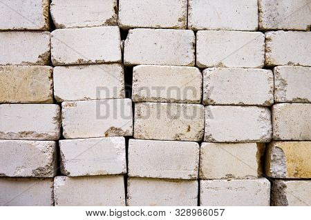 White light weight concrete block for texture background. Stacked one on another stock photo