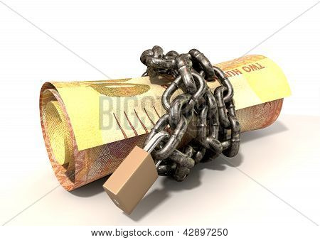 A rolled up two hundred rand note wrapped with chains and secured with a padlock on an isolated background stock photo