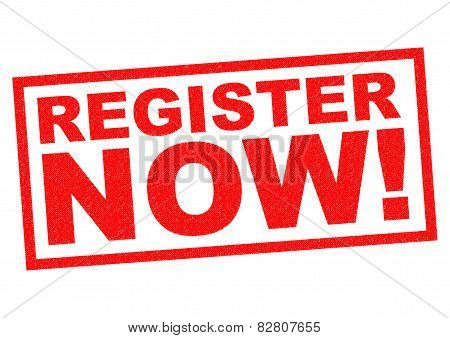 REGISTER NOW! red Rubber Stamp over a white background. stock photo
