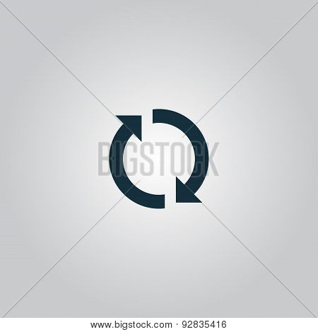 Refresh reload rotation loop sign. Flat web icon isolated on grey background. Collection modern trend concept design style vector illustration symbol stock photo