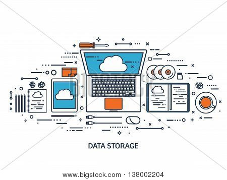 Vector illustration. Workplace, table with documents, computer. Flat cloud computing background. Media, data server. Web storage.CD. Paper blank. Digital technologies. Internet connection.Line art. stock photo