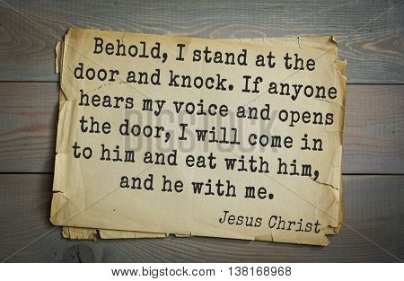 Jesus quote on old paper background. Behold, I stand at the door and knock. If anyone hears my voice