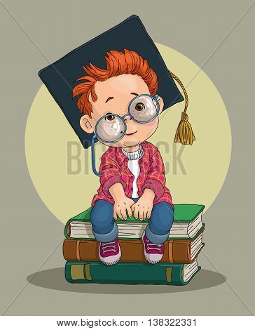 A little boy in an academic cap - a prospective student, sitting on a pile of huge books. stock photo