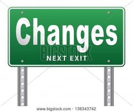 changes ahead, going a different direction change and improvement making things better for the future. A positive evolution to improve the world and progress. 3D illustration, isolated, on white  stock photo