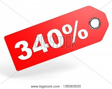 340 percent red discount tag on white background. 3D illustration. stock photo