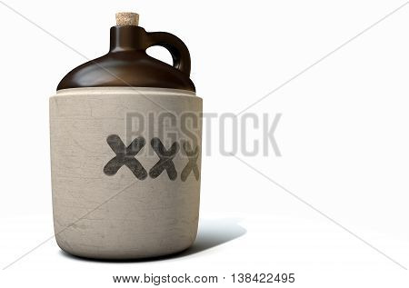 A 3D render of a vintage moonshine jug on an isolated white studio background stock photo