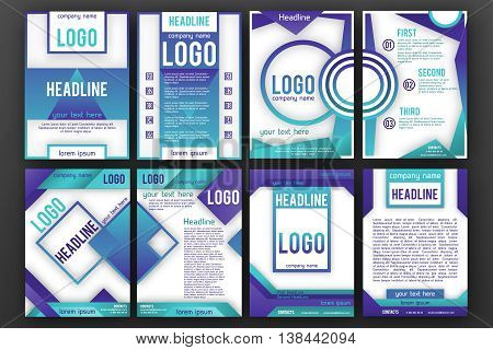Brochure design template vector set . Magazine front and back page, material style poster and banner. Cover scheme. Business leaflet layout.