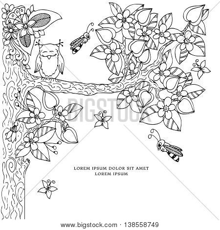 Vector illustration of floral frame Zen Tangle. Dudlart. Coloring book anti stress for adults. Coloring page. Black and white. stock photo