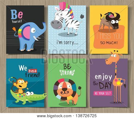 Collection of cute cards for different occasions with cute cartoon animals