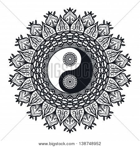 Vintage Yin and Yang in Mandala. Tao symbol for print tattoo coloring bookfabric t-shirt yoga henna cloth in boho style. Mehndi occult and tribal esoteric and alchemy sign. Vector stock photo