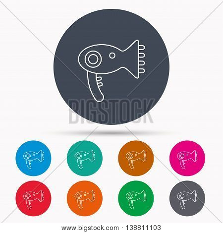 Hairdryer icon. Electronic blowdryer sign. Hairdresser equipment symbol. Icons in colour circle buttons. Vector stock photo