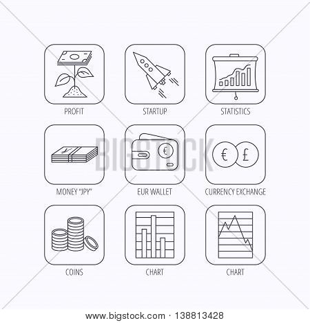 Profit investment, cash money and startup rocket icons. Wallet, currency exchange and euro linear signs. Chart, coins and statistics icons. Flat linear icons in squares on white background. Vector stock photo
