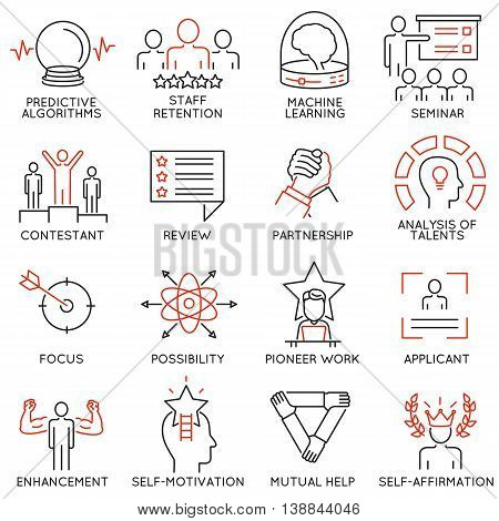 Vector set of 16 linear thin icons related to striving for success leadership development career progress and personal training. Mono line pictograms and infographics design elements - part 3 stock photo