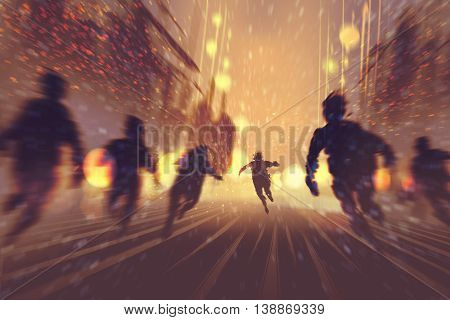 man running away from zombies, city in background, illustration, digital painting