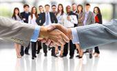 handshake confined on business foundation