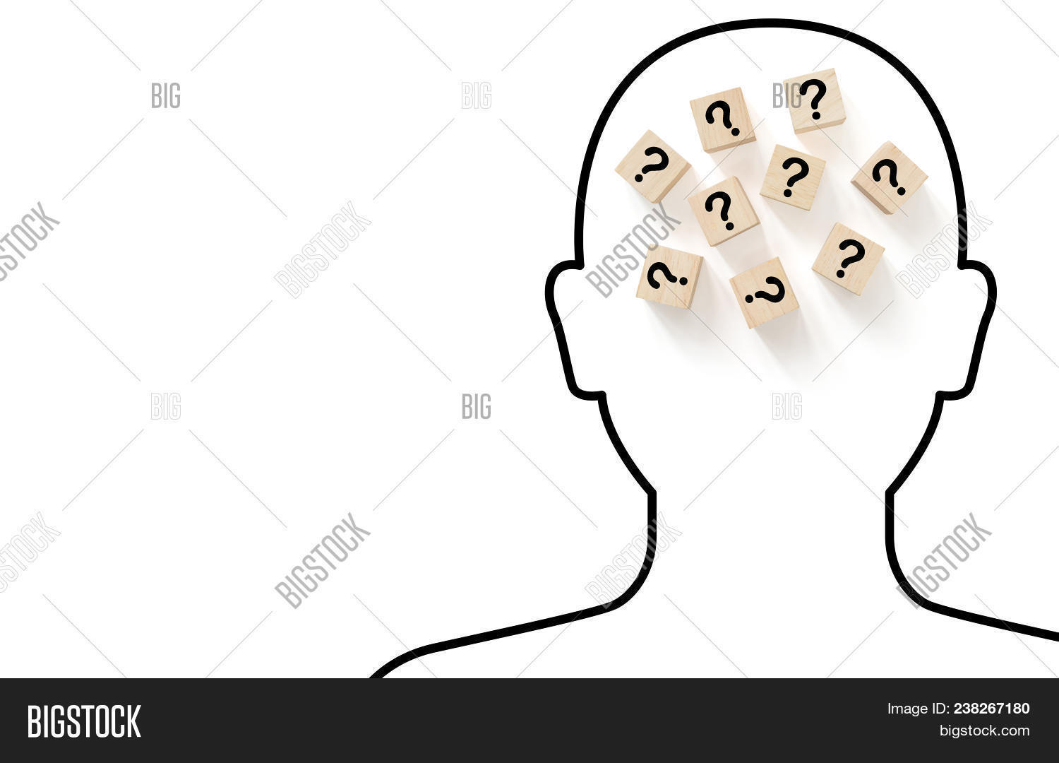 Human head drawing outline black color on white background with wooden block shape and question mark alphabet inside head, Thinking concept