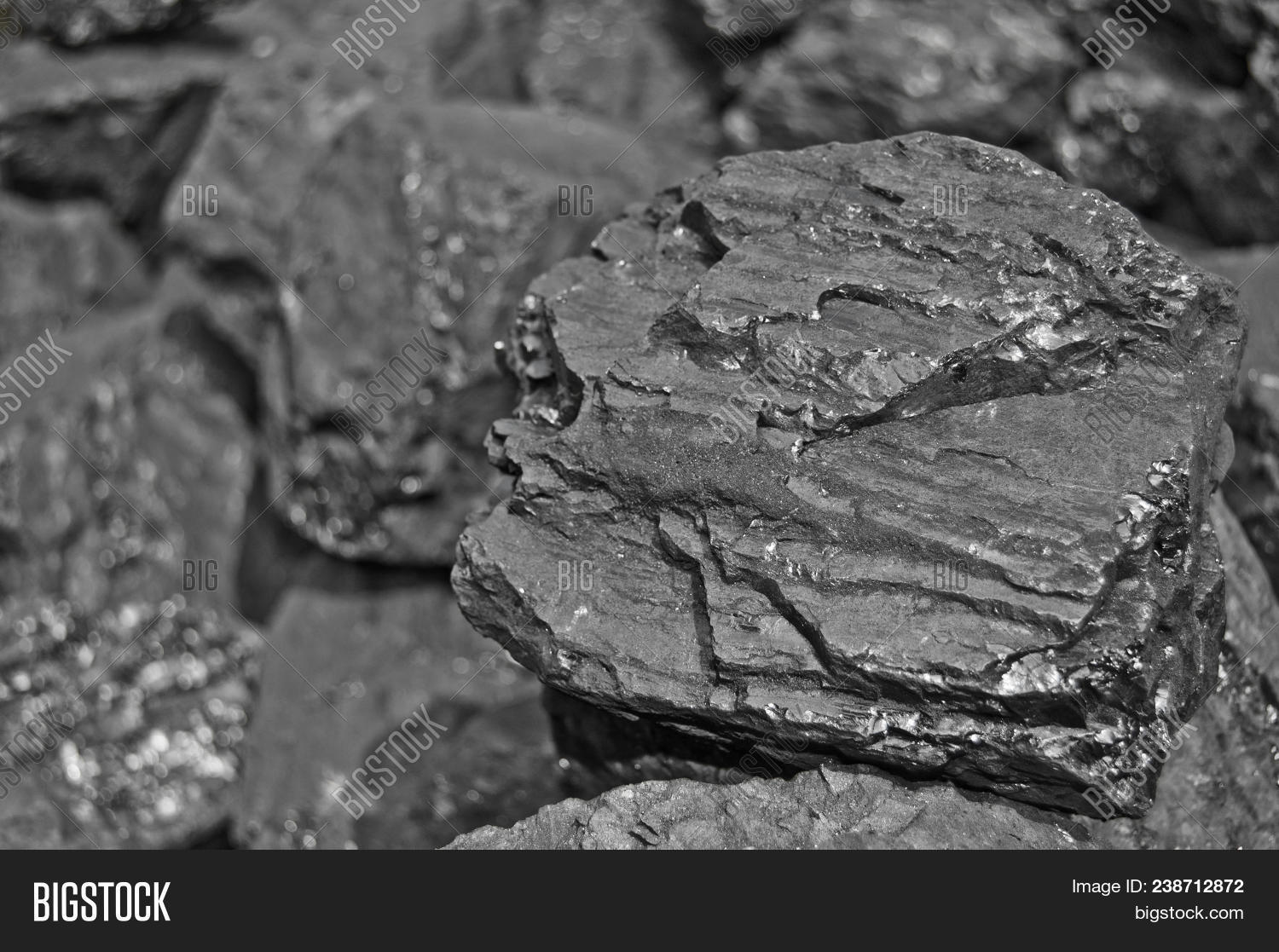Heap Of Coal. One Rock Of Coal Close Up On Black Coal Background. Place For Text. Copy Space.high Qu