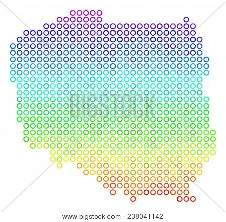 Spectrum Poland Map. Vector geographic map in bright spectral color tinges. Spectrum has vertical gradient. Colorful vector pattern of Poland Map designed of round elements. stock photo