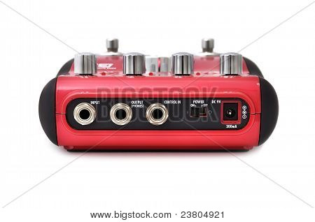 Guitar multi effects pedal isolated on white stock photo