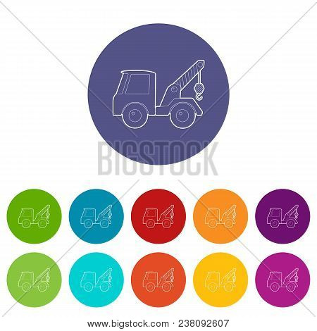 Car towing truck icon. Isometric 3d illustration of car towing truck vector icon for web stock photo