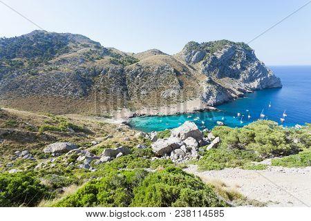 Cala Figuera de Formentor, Mallorca, Spain - Hiking through the rocky landscape of Formentor stock photo