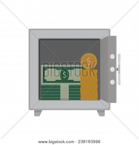 Money in steel safe. Finance safety, wealth security, money financial, dollar capital private, deposit capitalization, vector illustration stock photo