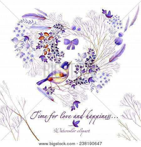 Watercolor heart-shaped clipart of lilac nature elements. Clipart consist of berries, flowers, leaves, feathers of a bird and lilac bows. stock photo