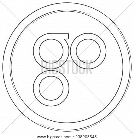 Omisego - cryptocurrency coin. Vector thin line icon. Lineart illustration on white background. Internet money stock photo