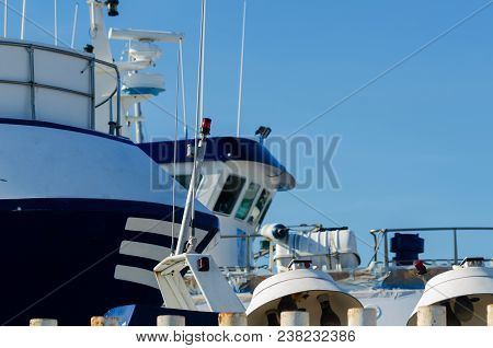 close-up on an item from a fishing boat, a cutter anchored in a port, sea industry stock photo